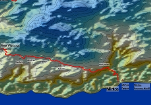 From Mirtos Up To Ano Viannos - Map