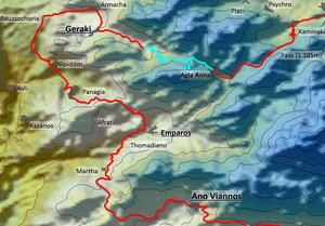 From Ano Viannos To Geraki And To The Lassithi Plateau - Map